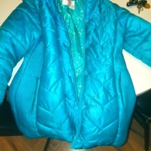 Justice hooded puffer coat size 8/10